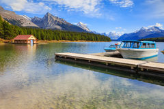 Boats on Maligne Lake. Maligne Lake in Jasper natioanal park, Alberta, Canada Stock Images
