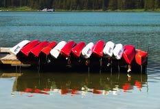 Boats Maligne Lake Jasper Stock Photos