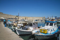 Boats in mandraki harbor Royalty Free Stock Photos