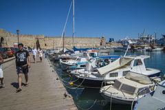 Boats in mandraki harbor Stock Photography
