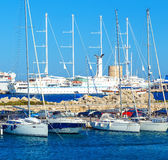 Boats in Mandraki Harbor. Rhodes Town, , Greece Royalty Free Stock Photo