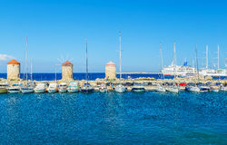 Boats in Mandraki Harbor. Rhodes Town, , Greece Royalty Free Stock Images