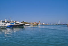 Boats in mandraki harbour Royalty Free Stock Photography