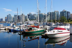 Boats & Marina. Reflections boats and a marina in Vancouver BC., Canada Royalty Free Stock Photo