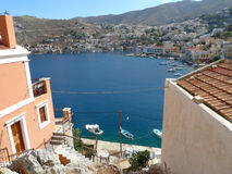 Boats at a marina. In greece village Royalty Free Stock Images