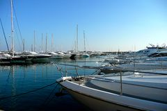 Boats In A Marina. Boats moored in a marina in Mallorca Stock Photos