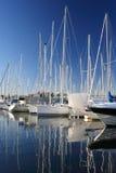 Boats in a marina. Sailboats in a marina a sunny day with blue sky royalty free stock photos