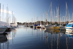 Boats in a marina. Sailboats in a marina a sunny day with blue sky stock photography