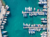 Boats in the marina. Aerial view of boats in the marina royalty free stock photography