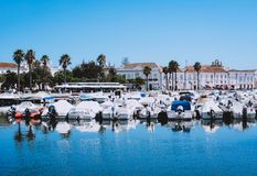 Boats at the marina of Faro. Boats at the marina of Faro with clear blue sky Algarve, Portugal stock photo
