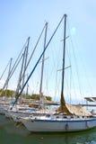 Boats in marina in Geneva lake bay harbor in Lausanne, Switzerla Stock Images