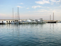 Boats in marina in group Royalty Free Stock Images