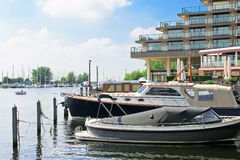 Boats at the marina Huizen. Royalty Free Stock Photos