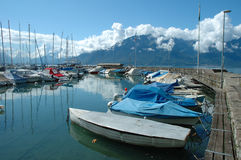 Boats in marina in La Tour-de-Peliz in Switzerland Stock Image