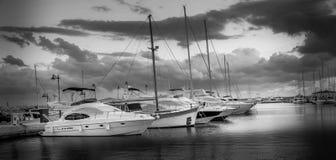Boats. At Marina Limassol & x28;Black and white& x29 stock photos