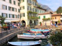 Boats in the marina of Limone sul Garda royalty free stock photos