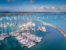 Boats in the marina of the Marigot Bay in Saint Martin Stock Image