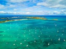 Boats in the marina of the Marigot Bay in Saint Martin. Morning light shines over the Marigot Bay in Saint Martin Royalty Free Stock Photos