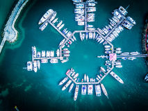 Boats in the marina of the Marigot Bay in Saint Martin Royalty Free Stock Photography