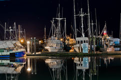 Boats at marina at night in Steveston, British Columbia Stock Photography