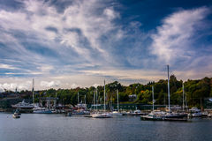 Boats in a marina in the Passagassawakeag River in Belfast Royalty Free Stock Photography