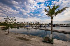 Boats in Marina in Rio de Janeiro. Marina da Gloria with Private Boats and Skyline of the Rio de Janeiro City stock images