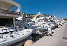 Boats in the marina in Santa Ponsa Nautic Club royalty free stock images