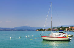 Boats in the Marina of Sirmione, Italy stock photos