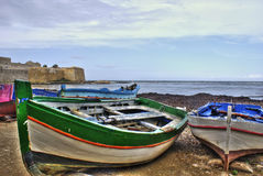 Boats in the marina of trapani. Sicily. Boats in the marina of trapani in High Dynamic range. Sicily royalty free stock photo