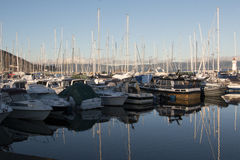 Boats in marina. Boats in a marina in Trondheim, Norway in autumn Royalty Free Stock Image