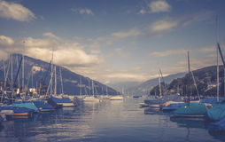 Boats in marine. Spiez Swiss Royalty Free Stock Image