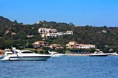 Boats In Marinella Gulf - Sardinia. Travel Series. Crowded beach in Marinella Gulf, Sardinia, Italy Stock Photography