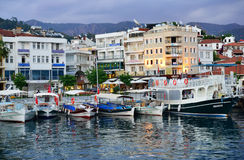 Boats in Marmaris, Turkey in evening Royalty Free Stock Image
