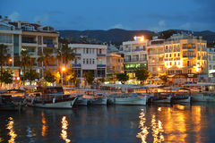 Boats in Marmaris, Turkey in the night Stock Photography