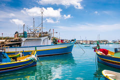 Boats in Marsaxlokk harbor. Fishing boats in Marsaxlokk harbor. Malta Stock Images