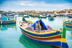 Boats in Marsaxlokk harbor. Fishing boats in Marsaxlokk harbor. Malta Royalty Free Stock Image