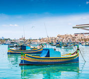 Boats in Marsaxlokk harbor. Fishing boats in Marsaxlokk harbor. Malta Royalty Free Stock Photos