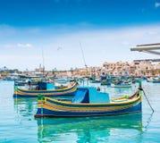 Boats in Marsaxlokk harbor Royalty Free Stock Photos