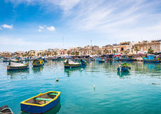 Boats in Marsaxlokk harbor. Fishing boats in Marsaxlokk harbor. Malta Royalty Free Stock Photo