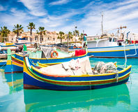 Boats in Marsaxlokk harbor Royalty Free Stock Image