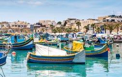 Boats in Marsaxlokk harbor Royalty Free Stock Photography