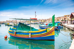 Boats in Marsaxlokk harbor. Fishing boats in Marsaxlokk harbor. Malta Stock Photography
