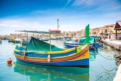 Boats in Marsaxlokk harbor Stock Photography