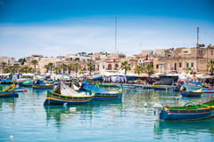 Boats in Marsaxlokk harbor. Fishing boats in Marsaxlokk harbor. Malta Royalty Free Stock Photography