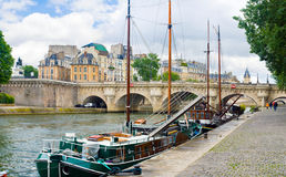 The boats with masts of the Seine, Paris Royalty Free Stock Images