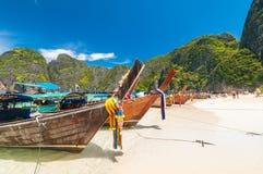 Boats at Maya bay Phi Phi Leh island Stock Images