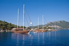 Boats on the Mediterranean. Gulet boats anchored on the Turkish Mediterranean Stock Photo