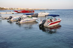 Boats on Mediterranean sea. Parking of boats on Mediterranean sea in a city Pathos in Cyprus Stock Image