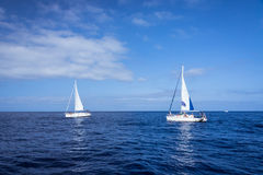 Boats in mediterranean sea Stock Photos