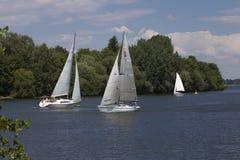 Boats meeting Royalty Free Stock Photos
